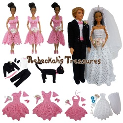 Crochet Barbie Wedding Set for Isabel by Rebeckah's Treasures