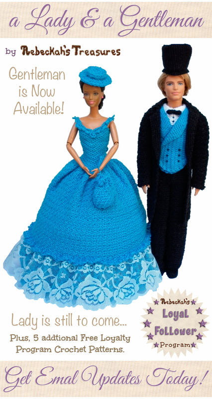 Get email updates from @beckastreasures! | Sign up today to receive free crochet patterns, special discounts and news from Rebeckah's Treasures... Learn more here: http://goo.gl/o7543o #crochet #barbie #ken