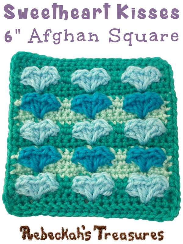 Sweetheart Kisses Afghan Square | FREE crochet pattern via @beckastreasures | Add this precious square to your favourite home decor and love projects! #hearts #valentines #crochet