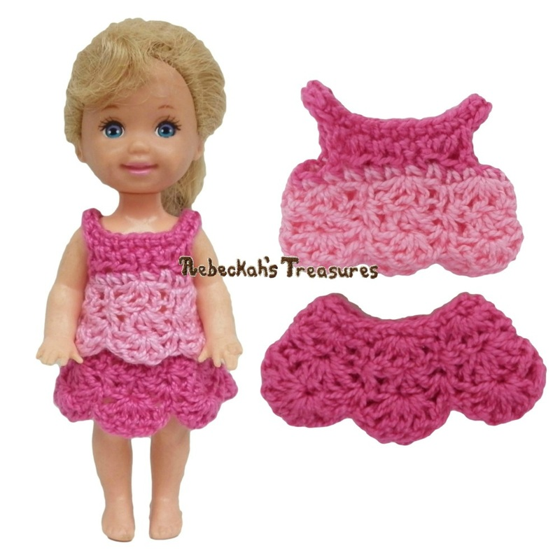 Simple Top 6 with Row 1 Variation + Dressy Skirt 4 ~ Pretty in Pink Free Crochet Pattern for Children Fashion Dolls by Rebeckah's Treasures