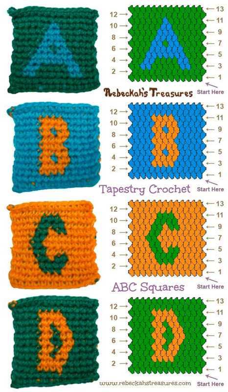 Tapestry Crochet Squares A–B–C–D (for ABC Blocks) Pattern by @beckastreasures