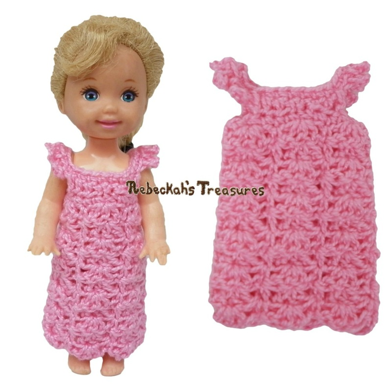 Simple Dress 14 ~ Pretty in Pink Free Crochet Pattern for Children Fashion Dolls by Rebeckah's Treasures