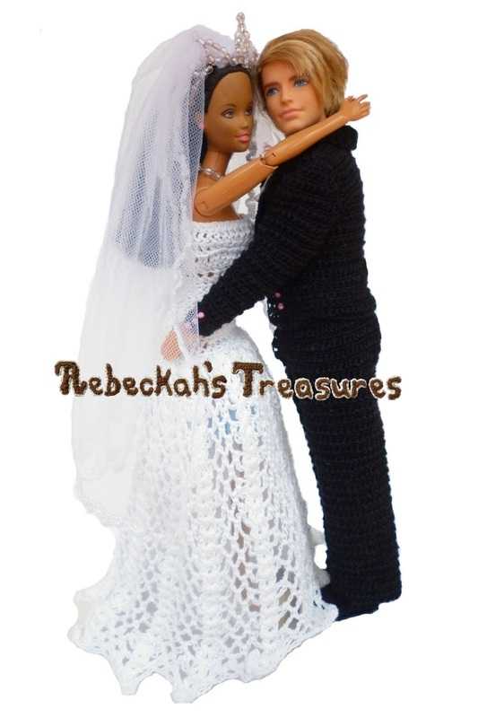 Crochet Barbie Wedding Set for Isabel by Rebeckah's Treasures ~ Barbie & Ken Slow Dancing