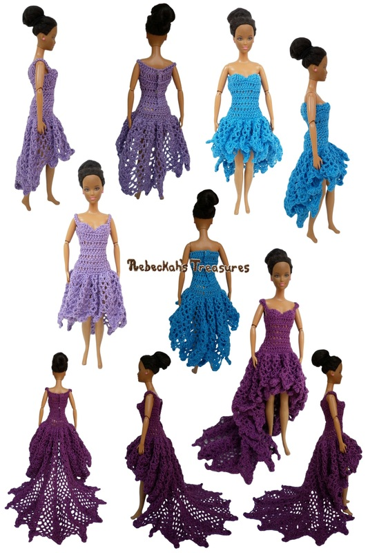 High-Low Dresses of the Happily Ever After Crochet Pattern for Fashion Dolls