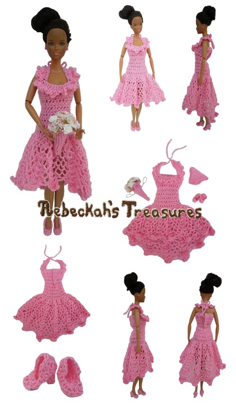 Crochet Barbie Wedding Set for Isabel by Rebeckah's Treasures ~ Barbie's Bridesmaid with Halter Neckline