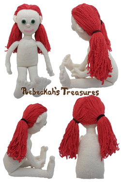 Crochet Amigurumi Dolly by Rebeckah's Treasures ~ Hair Style: 2 Low Ponytails