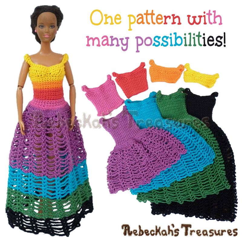 8 in 1 Brassieres to Dresses for Fashion Dolls | FREE crochet pattern via @beckastreasures | One crochet pattern, a rainbow of possibilities! #barbie #crochet
