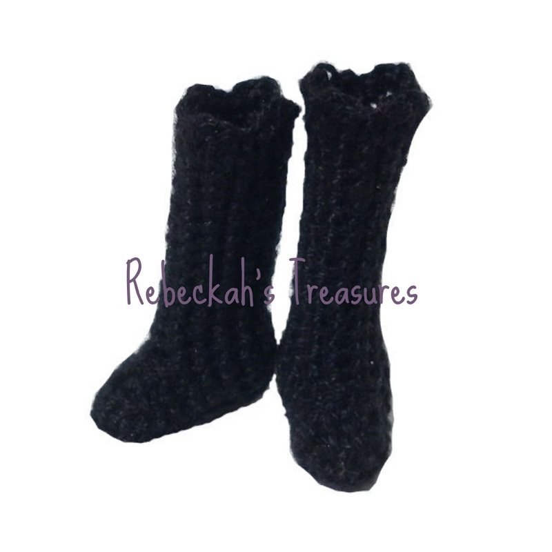 Crochet Mrs. Barbie Claus' Boots by Rebeckah's Treasures