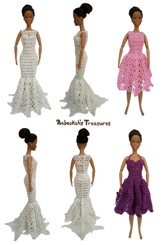 50's High-Waist & Fishtail Dresses of the Happily Ever After Crochet Pattern for Fashion Dolls