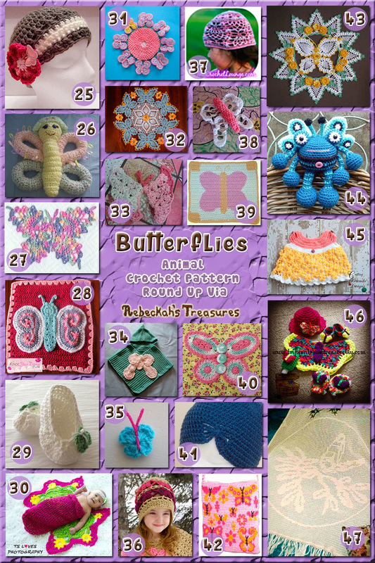 Butterflies - Animal Crochet Pattern Round Up via @beckastreasures