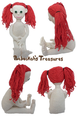 Crochet Amigurumi Dolly by Rebeckah's Treasures ~ Hair Style: 2 High Ponytails