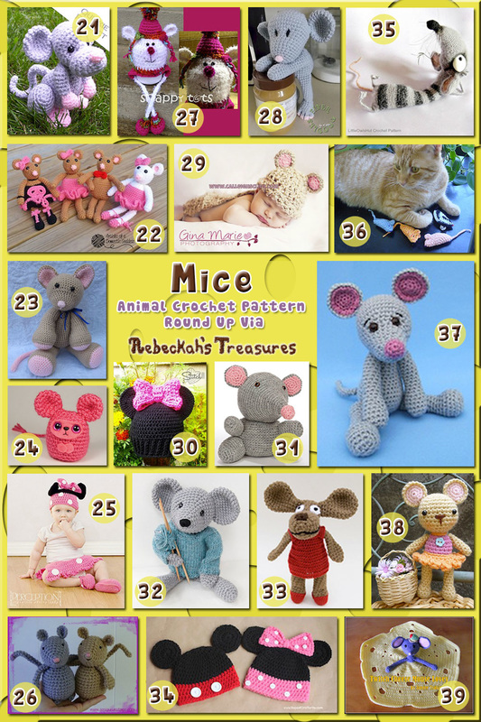 Mice Part 2 - Animal Crochet Pattern Round Up via @beckastreasures