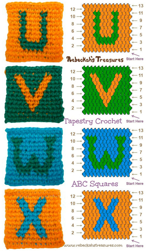 Letters U-X Tapestry Crochet Graph Patterns via @beckastreasures