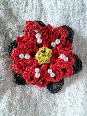 Poinsettia Flower Brooch by Jenny of Crochet is the Way - Featured on @beckastreasures Saturday Link Party!