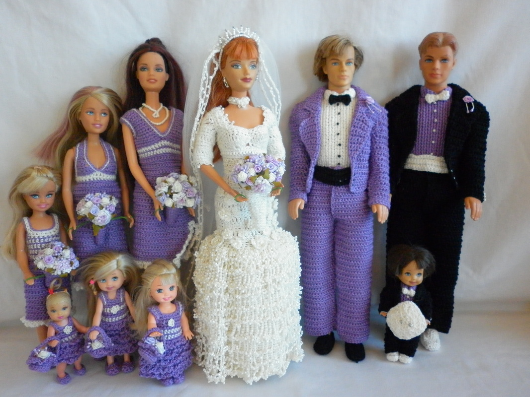 Crochet Barbie Wedding Party