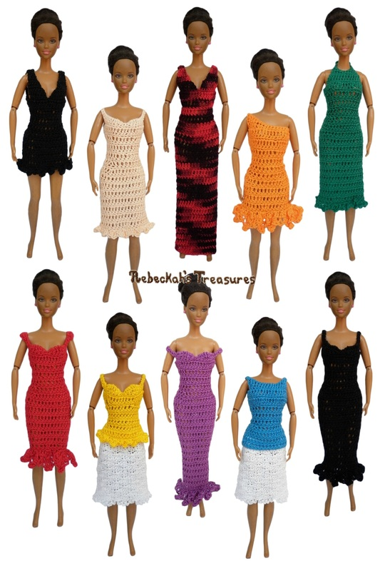 Column Dresses & Tops of the Happily Ever After Crochet Pattern for Fashion Dolls