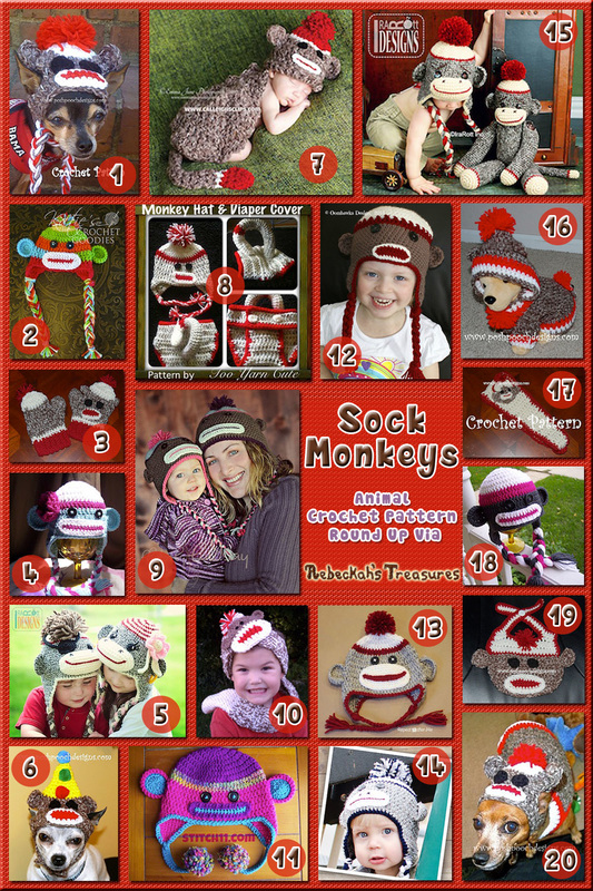 Sock Monkey Apparel - Animal Crochet Pattern Round Up via @beckastreasures