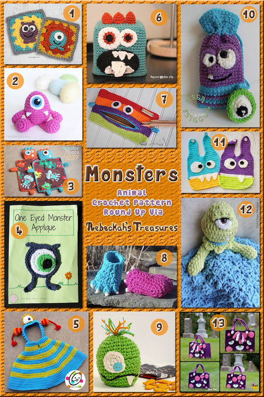 13 Delightfully Sweet Monster Bags, Babes & more! – via @beckastreasures with @RepeatCrafterMe | 3 Monster Animal Crochet Pattern Round Ups!