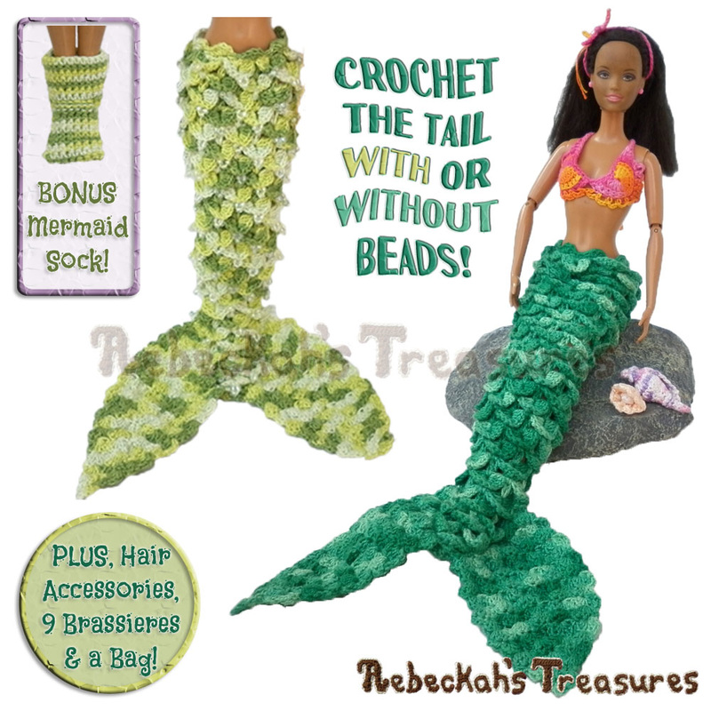 Mermaids by @beckastreasures | Tails, accessories & more! You too can crochet these lovely sea gems for your favourite fashion dolls...