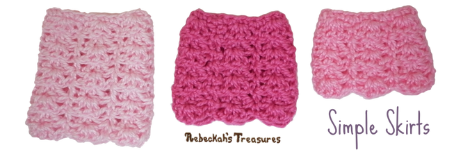 Simple Skirts from Pretty in Pink Free Crochet Pattern for Children Fashion Dolls by Rebeckah's Treasures