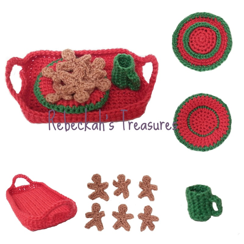 Crochet Mrs. Barbie Claus Tray with Plate of Cookies and Mug of Hot Cocoa by Rebeckah's Treasures