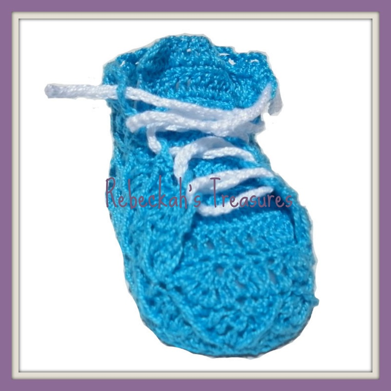 Rebeckah's Treasures' Crochet Criss Cross Diamond Romper Layette Booties