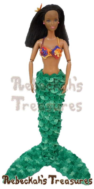 Fashion Doll Mermaid by @beckastreasures standing upright | Features a crocodile mermaid tail, the star flowers brassiere & a starfish hair piece!