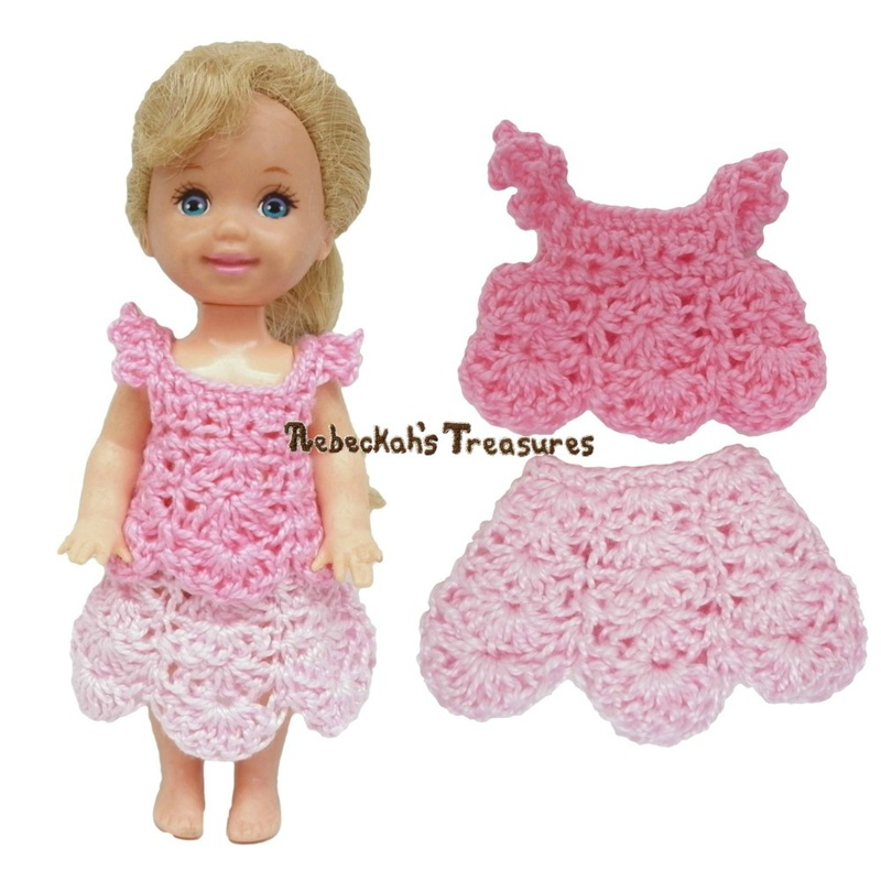 Dressy Top 6 + Dressy Skirt 6 ~ Pretty in Pink Free Crochet Pattern for Children Fashion Dolls by Rebeckah's Treasures