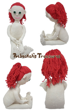 Crochet Amigurumi Dolly by Rebeckah's Treasures ~ Hair Style: High Ponytail