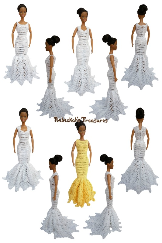 Mermaid Dresses of the Happily Ever After Crochet Pattern for Fashion Dolls