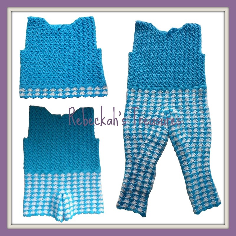 Rebeckah's Treasures' Crochet Criss Cross Diamond Romper Layette WIP