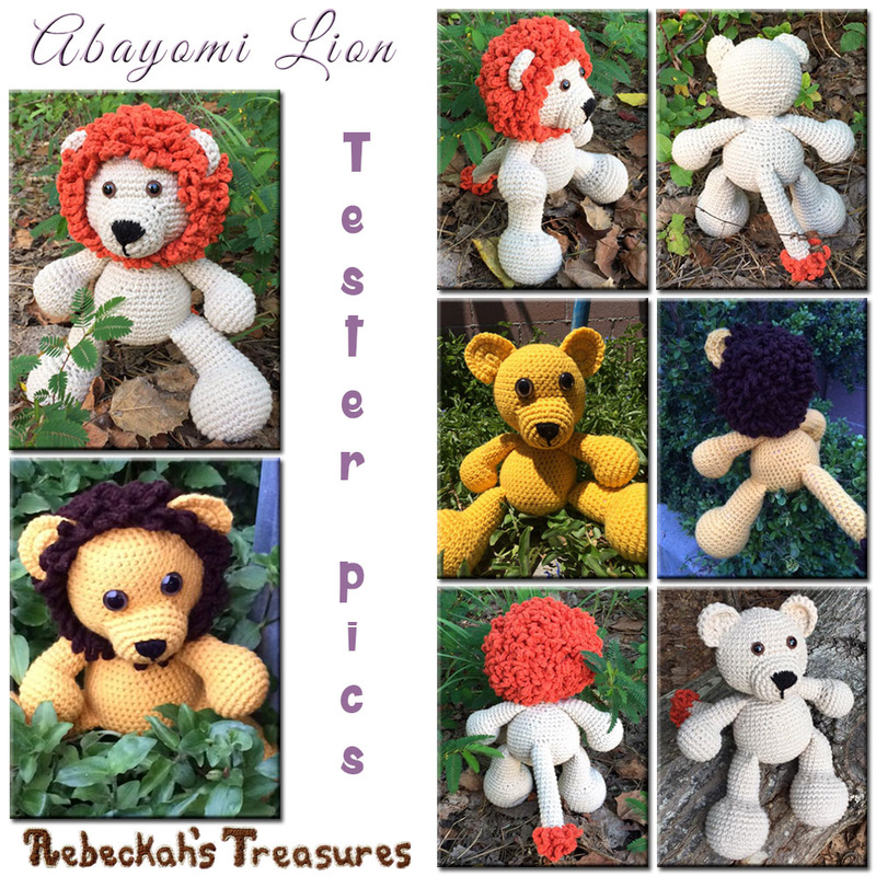 Amigurumi Abayomi Lion Cal via @beckastreasures / Tester Pics crocheted by Margie & Brisja