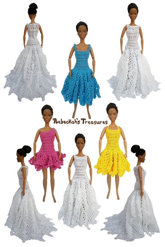Ball Gown Dresses of the Happily Ever After Crochet Pattern for Fashion Dolls