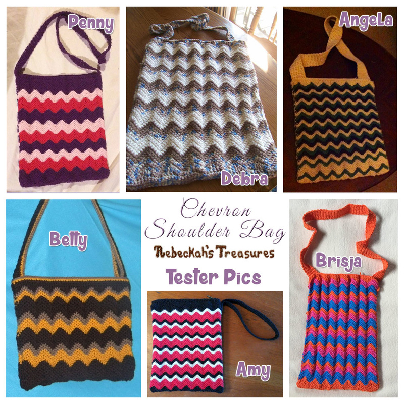 Chevron Shoulder Bag | free crochet pattern via @beckastreasures | Tester pics by Amy B., Angela W., Betty L., Brisja R., Debra C. & Penny J.