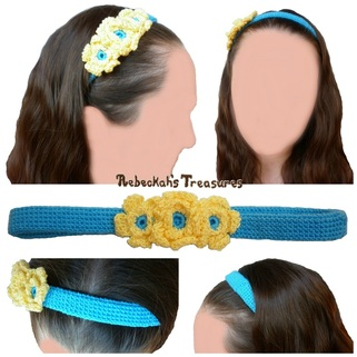 Floral Blue Crochet Headband Free Pattern by Rebeckah's Treasures