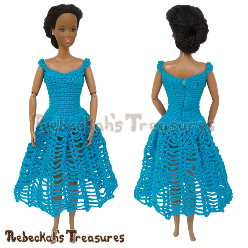 Mid-Calf Length Dress from 8 in 1 Brassieres to Dresses for Fashion Dolls | FREE crochet pattern via @beckastreasures | One crochet pattern, a rainbow of possibilities! #barbie #crochet