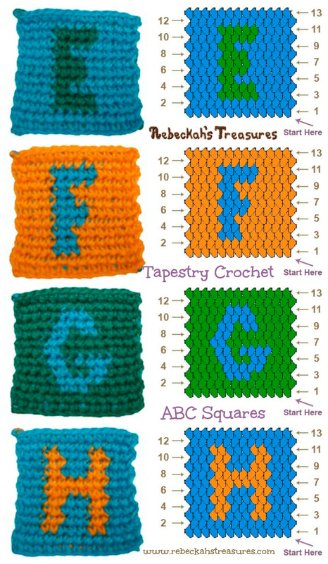 Tapestry Crochet Squares E to H Patterns (for ABC Blocks) via @beckastreasures
