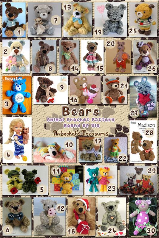 30 Fancy Teddy Bear Toys – via @beckastreasures with @melissaspattrns @LittleOwlsHut & @pinkmamboblog | 5 Bear Animal Crochet Pattern Round Ups!