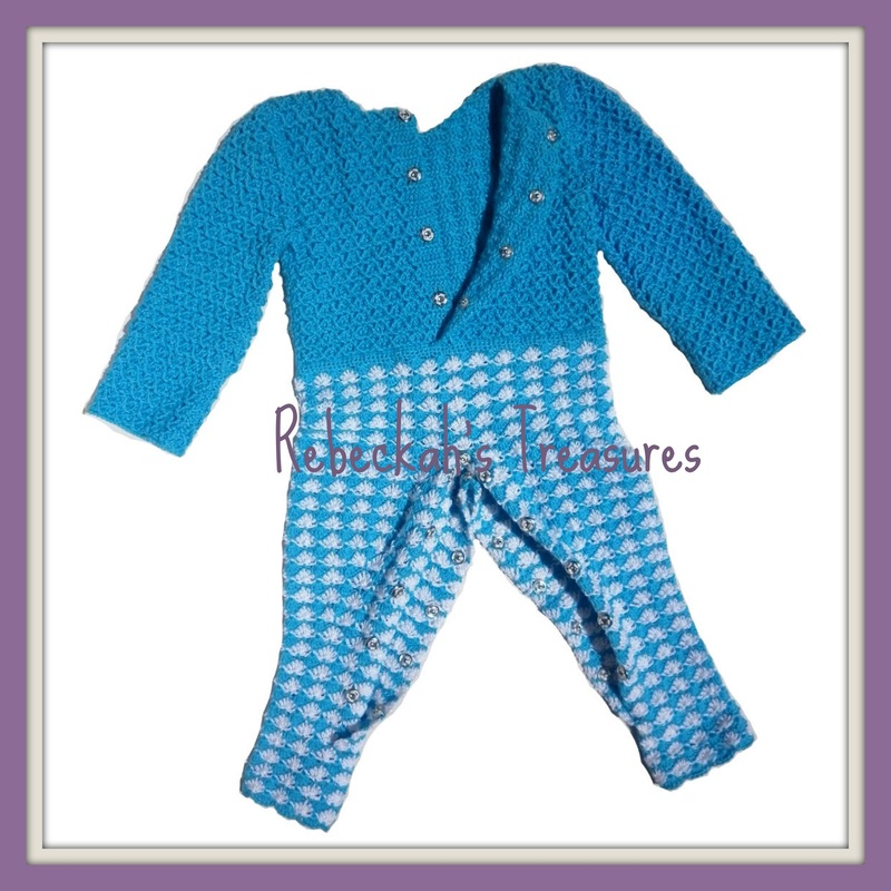 Rebeckah's Treasures' Crochet Criss Cross Diamond Romper Layette Open View