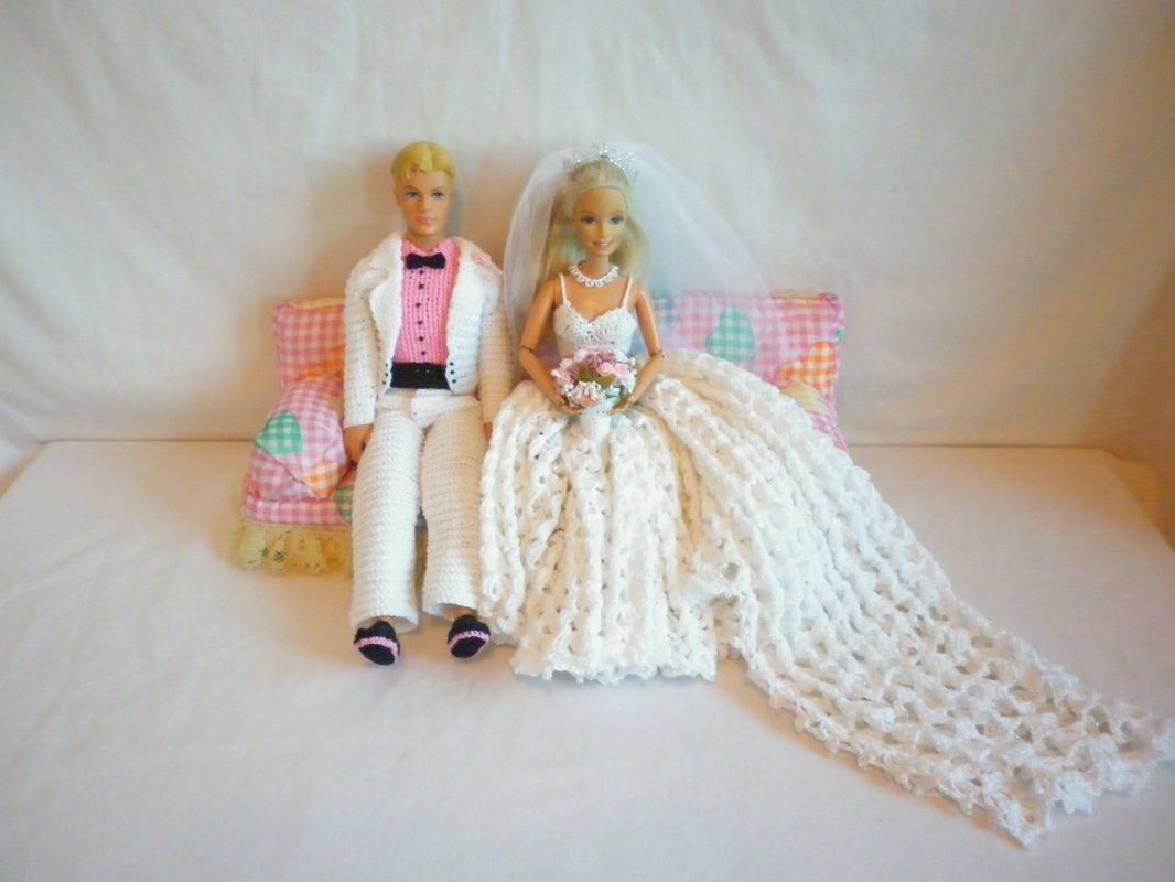Crochet Barbie Bride & Crochet Ken Groom