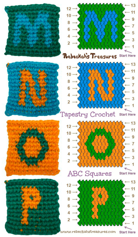 Tapestry Crochet the letters M, N, O & P with this fun ABC Blocks Pattern!