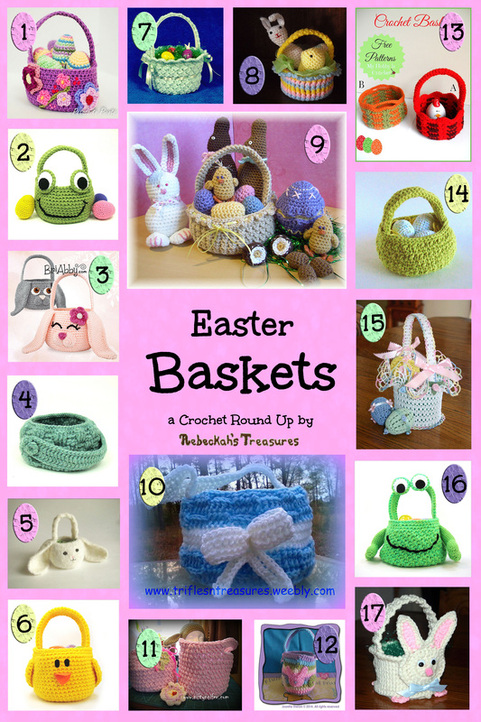 Easter Baskets Crochet Pattern Round Up via @beckastreasures