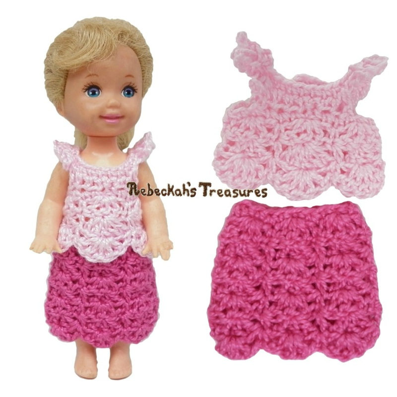 Dressy Top 6 + Simple Skirt 8 ~ Pretty in Pink Free Crochet Pattern for Children Fashion Dolls by Rebeckah's Treasures