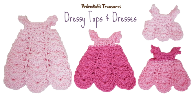 Dressy Tops & Dresses from Pretty in Pink Free Crochet Pattern for Children Fashion Dolls by Rebeckah's Treasures