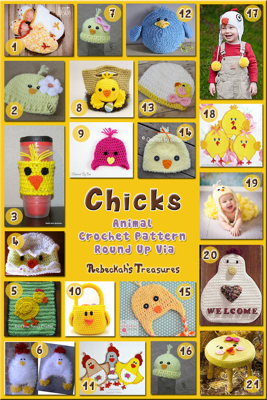 Chick Apparel & Accessories - Animal Crochet Pattern Round Up via @beckastreasures