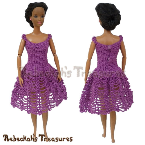 Knee Length Dress from 8 in 1 Brassieres to Dresses for Fashion Dolls | FREE crochet pattern via @beckastreasures | One crochet pattern, a rainbow of possibilities! #barbie #crochet