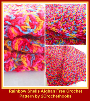 Rainbow Shells Afghan by Kristina & Millie from 2Crochethooks - Featured on @beckastreasures Saturday Link Party!