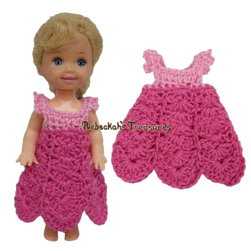 Dressy Dress 10 ~ Pretty in Pink Free Crochet Pattern for Children Fashion Dolls by Rebeckah's Treasures
