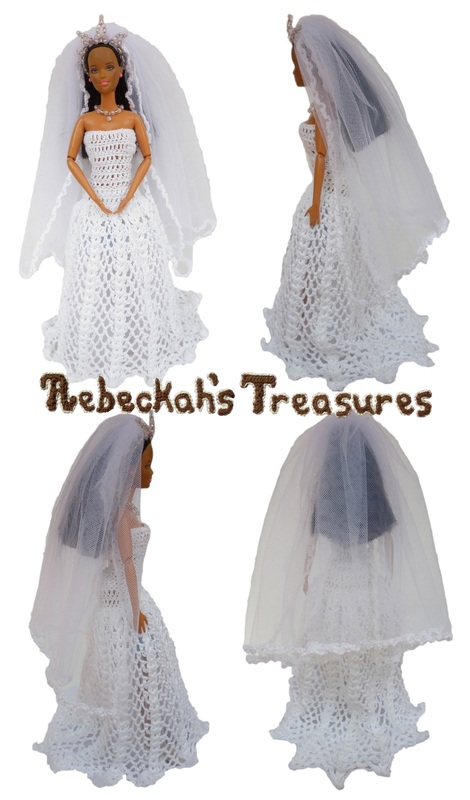 Crochet Barbie Wedding Set for Isabel by Rebeckah's Treasures ~ Barbie Bride without Flowers