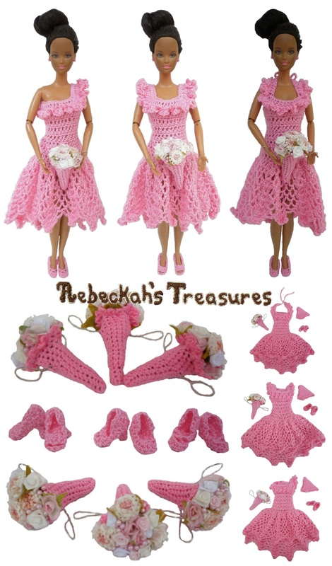 Crochet Barbie Wedding Set for Isabel by Rebeckah's Treasures ~ Barbie's Bridesmaids